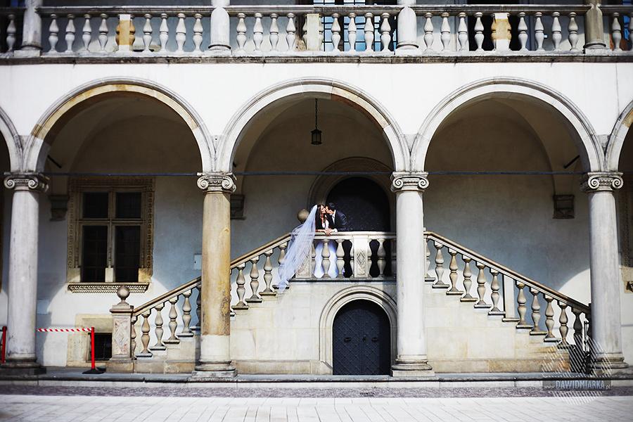 Plener ślubny Wawel dziedziniec